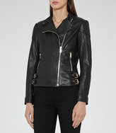 Reiss Shelby Leather Biker Jacket