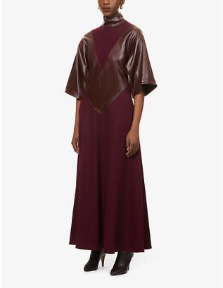 Roksanda Erdea flared-hem wool and faux-leather maxi dress