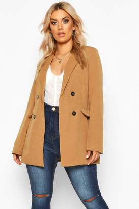 boohoo Plus Woven Double Breasted Tailored Blazer