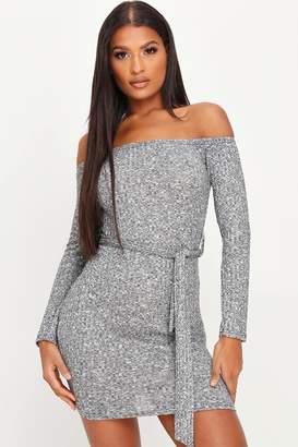 I SAW IT FIRST Grey Bardot Split Mini Dress