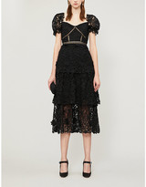 Self-Portrait Self Portrait Puffed-sleeve tiered 3D floral-lace midi dress