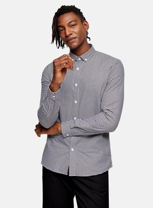 Topman Black and White Gingham Check Slim Shirt