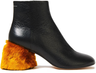 MM6 MAISON MARGIELA Faux Fur-trimmed Textured-leather Ankle Boots