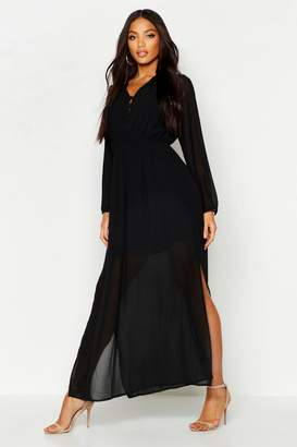 boohoo Woven Button Strappy Back Maxi Dress
