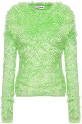 Balenciaga Neon Faux Fur Top