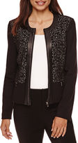 Liz Claiborne Long-Sleeve Ponte Zip-Front Jacket - Petite