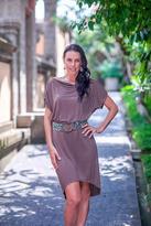 Backless Brown Asymmetrical Dress, 'Backless Beauty'
