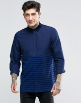 Fred Perry Shirt With Stripe Panel In French Navy In Slim Fit