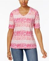 Karen Scott Elbow-Sleeve Shell-Print Top, Only at Macy's