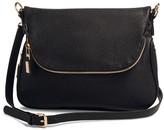 Women's Faux Leather Zipper Flap Crossbody Handbag