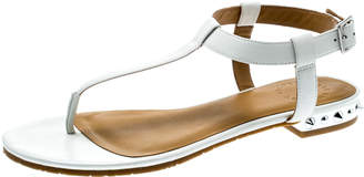 Marc by Marc Jacobs White Leather Avrum Studded Thong Sandals Size 36