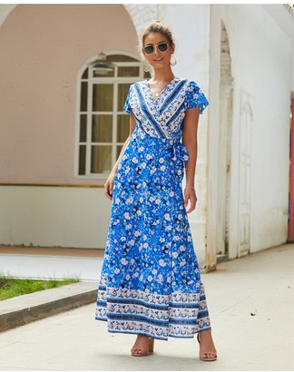 FS Collection Bohemian Style Wrap Maxi Dress In Blue & Pink Floral Print