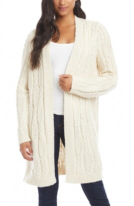 Karen Kane Cable Knit Open Front Long Cardigan