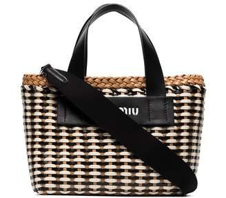 Miu Miu Eco leather wicker tote bag