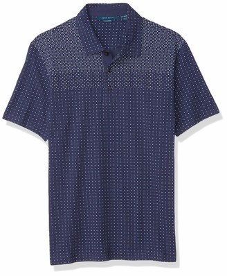Perry Ellis Men's Ultra Soft Touch Pima Cotton Ombre Geo Print Short Sleeve Polo Shirt