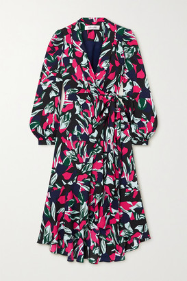 Diane von Furstenberg Carla Two Printed Crepe Wrap Midi Dress