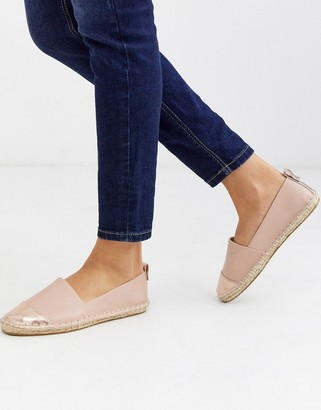 ASOS DESIGN Jacey espadrilles in pink/rose gold