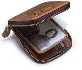 Contacts Men's Genuine Leather Short Zipper Around Wallet
