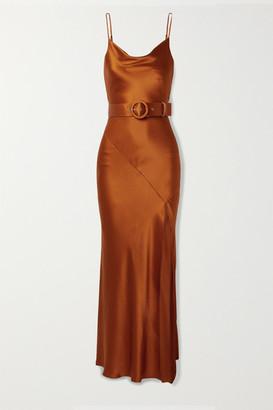Nicholas Simone Belted Silk-satin Maxi Dress - Brick