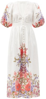 Zimmermann Poppy Floral-print Linen Dress - White Print