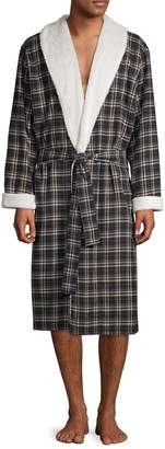 UGG Kalib Faux Shearling-Lapel Plaid Robe