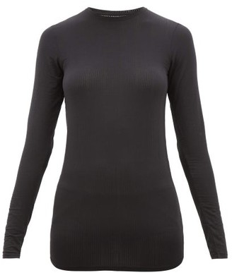 Negative Underwear Whipped Round-neck Ribbed-jersey Top - Womens - Black