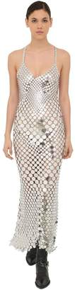 Paco Rabanne Long Metal Sequin Mesh Dress