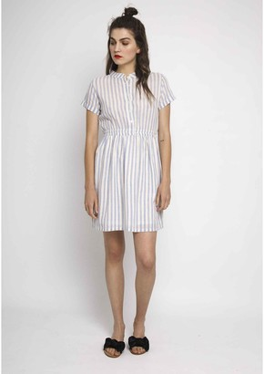 Short-Sleeved Striped Dress with Elasticated Waist