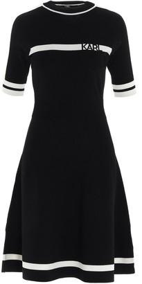 Karl Lagerfeld Paris Logo Knitted Flare Dress