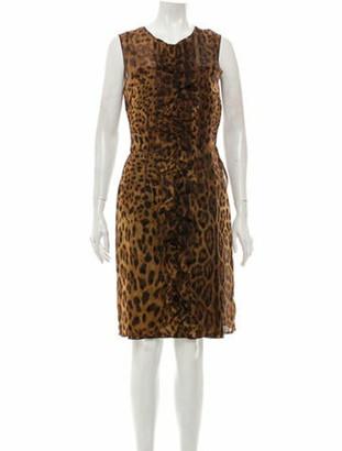 Dolce & Gabbana Silk Animal Print Dress w/ Tags Brown