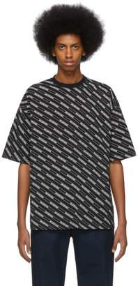 Balenciaga Black Allover Logo Lines Regular Fit T-Shirt
