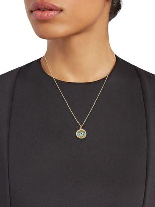 La Soula 14K Goldplated Sterling Silver & Diamond Evil Eye Pendant Necklace