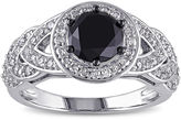 MODERN BRIDE Midnight Black Diamond 2 CT. T.W. White and Color-Enhanced Black Diamond Engagement Ring