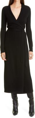 Diane von Furstenberg Astrid Long Sleeve Wool & Cashmere Wrap Dress