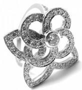 Louis Vuitton 18k White Gold Diamond Flower Ring Size 5.25