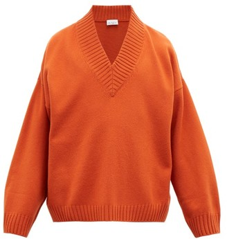 Raey V-neck Dropped-shoulder Merino-wool Sweater - Orange