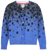 Yumi Fading Floral Print Cardigan Blue