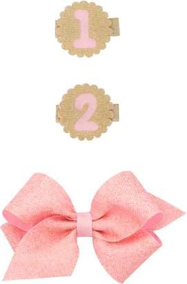 PLH Bows Birthday Glitter Bow Hair Clip Set
