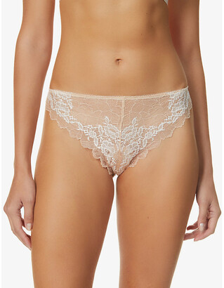 Wacoal Lace Perfection mid-rise stretch-lace tanga briefs