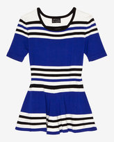 Torn By Ronny Kobo Striped Peplum Knit Top