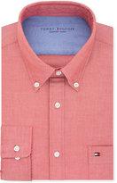 Tommy Hilfiger Men's Slim-Fit Comfort Wash Untucked Red Solid Dress Shirt