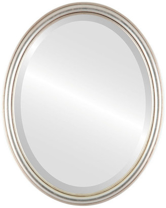 """The Oval And Round Mirror Store Saratoga Framed Oval Mirror in Silver Leaf with Brown Antique, 21""""x25"""""""