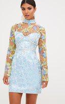 PrettyLittleThing Premium Blue Lace Detail Jacquard Bodycon Dress