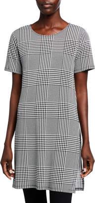 Calvin Klein Short-Sleeve Houndstooth-Check Tunic