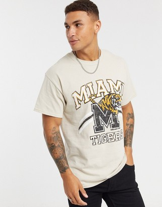 Topman t-shirt with varsity print in sand