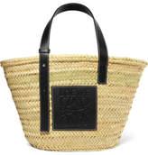 Loewe paula's Ibiza Leather-trimmed Woven Raffia Tote - Beige