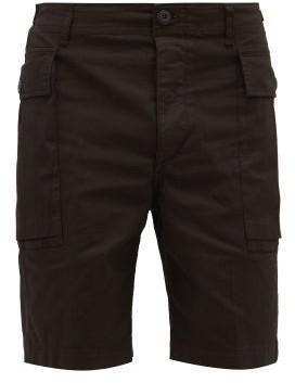 Aries Temple-logo Stretch-cotton Cargo Shorts - Mens - Black