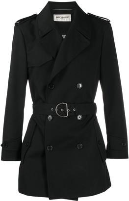 Saint Laurent Belted Short Trench Coat