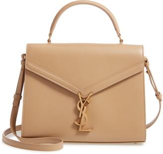 Saint Laurent Medium Cassandre Calfskin Leather Top Handle Bag