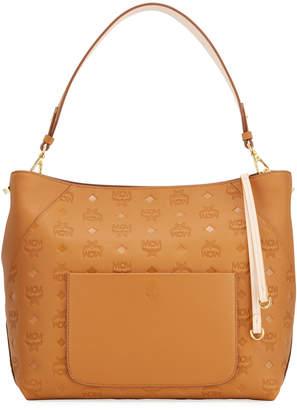 MCM Klara Medium Monogrammed Leather Hobo Bag